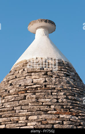 Conical roof and pinnacle of a Trullo house, Trulli District, Alberobello, Apulia, Italy - Stock Photo