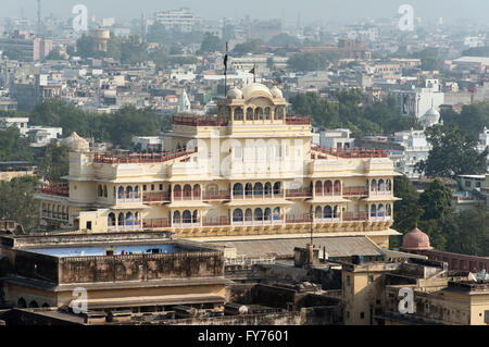 Chandra Mahal or Niwas Building of City Palace, Jaipur, Rajasthan, India - Stock Photo