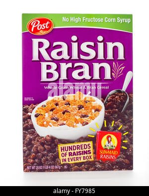 Winneconne, WI - 7 February 2015: Box of Raison Bran cereal a product of Post. - Stock Photo