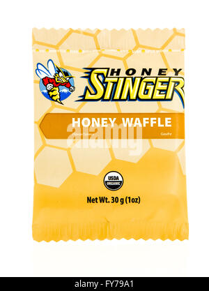 Winneconne, WI - 17 Feb 2016: Package of Honey Stinger in honey waffle flavor. - Stock Photo