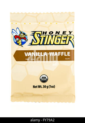 Winneconne, WI - 17 Feb 2016: Package of Honey Stinger in vanilla waffle flavor. - Stock Photo