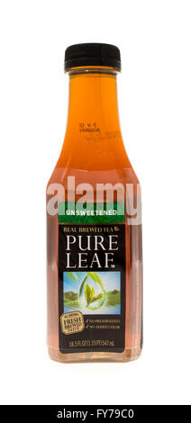 Winneconne, WI - 15 May 2015: Bottle of Pure Leaf tea in unsweetened flavor - Stock Photo