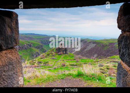 Eurasia, Caucasus region, Armenia, Aragatsotn province, church at Amberd 7th-century fortress located on the slopes - Stock Photo