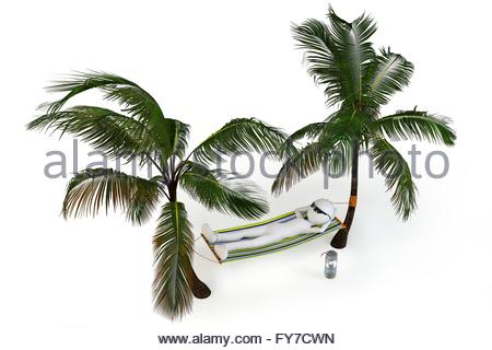 3d man relaxing in hammock with palm trees isolated on white - Stock Photo