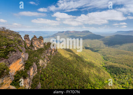 The Three Sisters in the Blue Mountains, New South Wales, Australia - Stock Photo