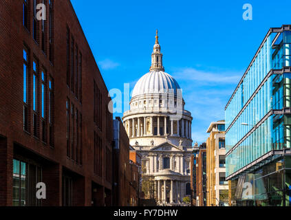 St Pauls Cathedral in London against a blue sky - Stock Photo