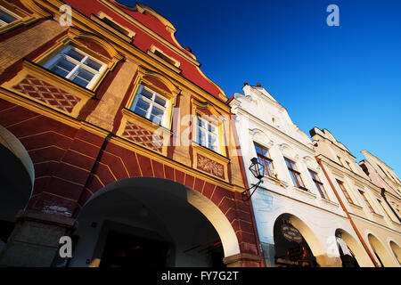 Traditional Houses in Town of Telc, Czech republic - Stock Photo