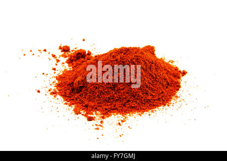 Red pepper spice isolated on white background - Stock Photo