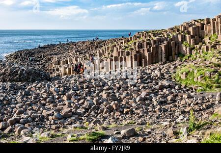 Giants Causeway. Tourists visiting unique geological hexagonal formations of volcanic basalt rocks on Atlantic coast - Stock Photo