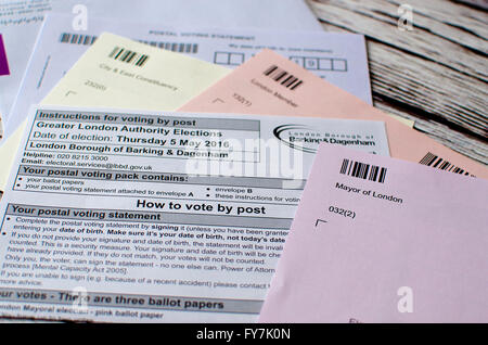 voting elections postal poll card London UK ballot papers - Stock Photo