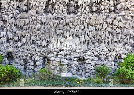 PRAGUE, CZECH REPUBLIC - APRIL 21, 2016: The Grotto, a dripstone wall in the garden of the Wallenstein Palace in - Stock Photo