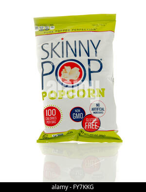 Winneconne, WI - 17 Feb 2016: Bag of Skinny Pop popcorn. - Stock Photo
