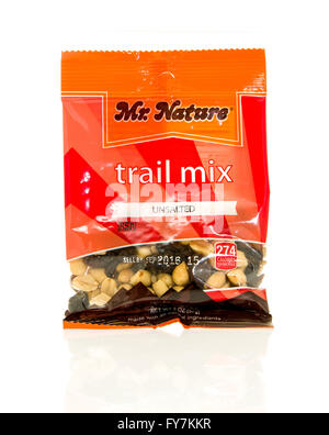 Winneconne, WI - 17 Feb 2016: Bag of Mr. Nature trail mix that is unsalted - Stock Photo