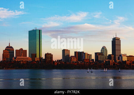 The Boston, Massachusetts skyline at dusk - Stock Photo