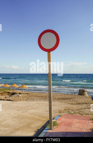 No entry sign, no vehicular traffic to the beach, Marbella, Spain. - Stock Photo