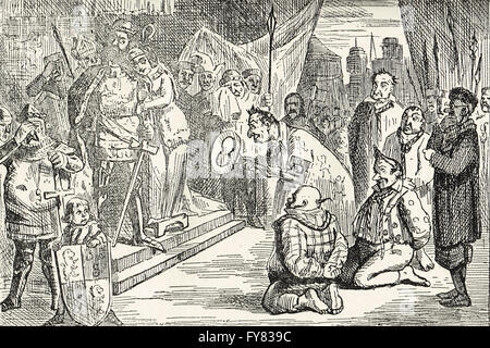 Illustration by John Leech. Queen Philippa interceding with Edward III for the Burghers of Calais.  Siege of Calais - Stock Photo