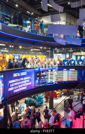 Inside Barcelona Official Store Megastore outside Camp Nou stadium - Stock Photo