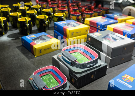 Replicas of Camp Nou in FC Barcelona boutique store - Stock Photo