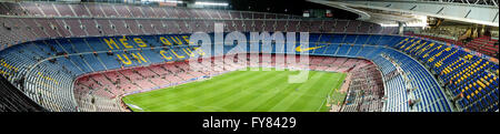 The legendary Camp Nou is home to FC Barcelona football team. With a current capacity of 99,000 (99 thousand) spectators - Stock Photo