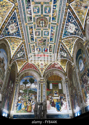 Piccolomini Library with frescoes by Umbrian Bernardino di Betto in Duomo di Siena or Siena Cathedral in Siena, - Stock Photo