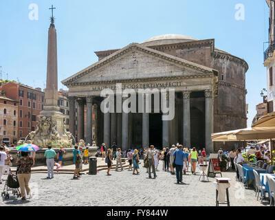 Pantheon, obelisk and fountain on Piazza della Rotonda square in Rome, Italy - Stock Photo