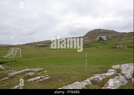 A remote football field on the island of Eriskay in the Outer Hebrides, Western isles of Scotland. - Stock Photo