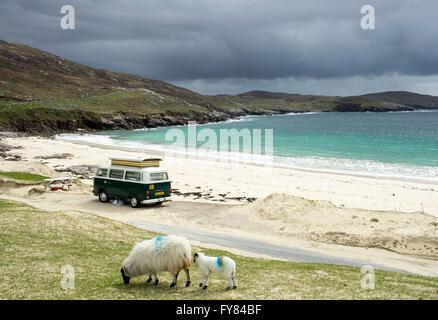Huisinish beach Outer Hebrides. A VW Camper Van parked at Huisinish beach, Isle of Harris, Outer Hebrides Scotland - Stock Photo
