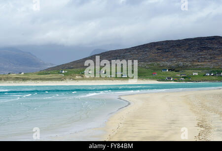 View of Luskentyre beach  from Seilebost, Isle of  Harris Scotland, UK. - Stock Photo