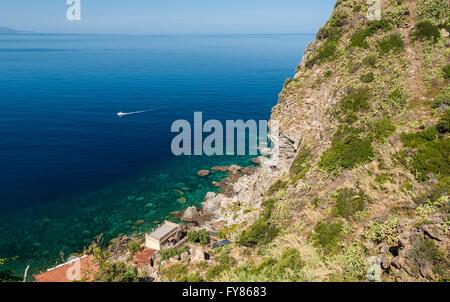 Rocky coastline along 'Costa Viola' in Calabria (southern Italy) - Stock Photo