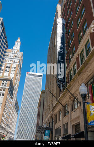 Upward view of downtown Tulsa, Oklahoma in front of the historic Atlas Life Building on South Boston Street. USA. - Stock Photo