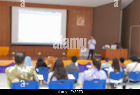 Abstract blurred at Business photo of conference hall or seminar room with attendee background - Stock Photo