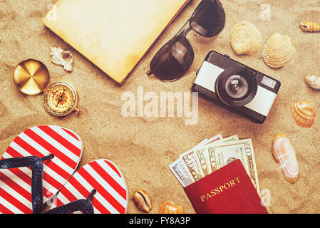 Summer vacation accessories on tropical sandy ocean beach, holidays abroad - summertime lifestyle objects and US - Stock Photo