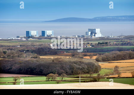 The site of EDF Energy's Hinkley Point C nuclear power station, with existing twin reactors of Hinkley A (left), - Stock Photo