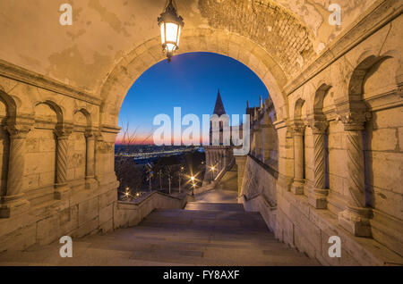 North Gate of Fisherman's Bastion in Budapest, Hungary Illuminated at Dawn - Stock Photo