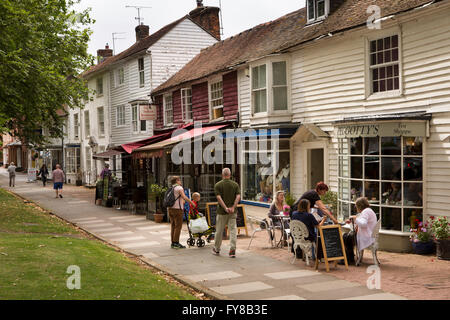UK, Kent, Tenterden, High Street, picturesque tile hung and weatherboarded shops - Stock Photo