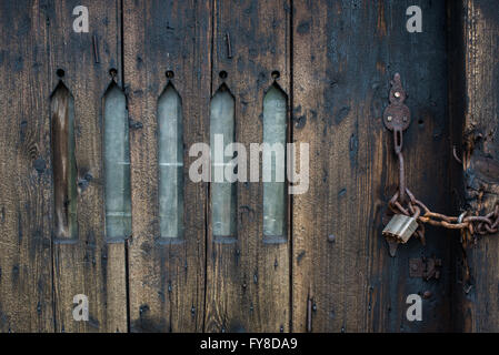 ... Padlocked chain locked wooden door with arched window slits to an farm outhouse in castleton & A chained and padlocked door Stock Photo Royalty Free Image ... Pezcame.Com