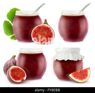 Isolated fig jam jars. Collection of open glass jars with fruit jam and pieces of fresh figs, isolated on white - Stock Photo