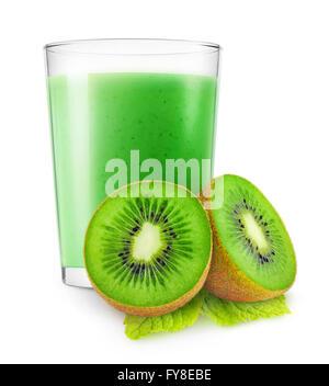 Isolated kiwi smoothie. Glass of kiwi fruit drink isolated on white background with clipping path - Stock Photo