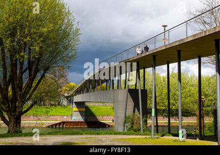 Centipede bridge over river Emscher, Rhine-Herne-Canal and a motorway, pedestrian bridge, Oberhausen, Germany, - Stock Photo