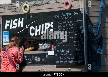 Fish and Chips counter city of Akureyri Iceland - Stock Photo