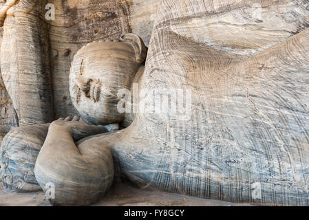 Reclining Buddha, Gal Vihara, Polonnaruwa, Sri Lanka - Stock Photo