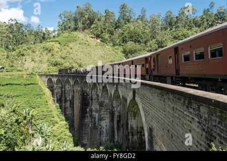 Train on Nine Arches Bridge near Ella, Sri Lanka - Stock Photo