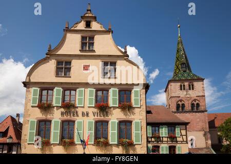 Town Hall and St. Anne's Church, Turckheim, Alsace, France - Stock Photo