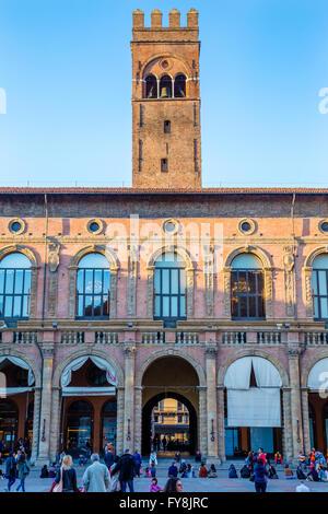 Palazzo del Podesta and tower of Palazzo Re Enzo from Piazza Maggiore, Bologna, Italy - Stock Photo