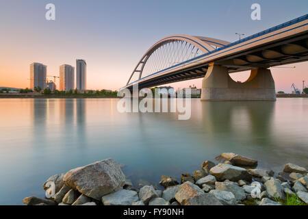 Apollo bridge over river Danube in Bratislava, Slovakia. - Stock Photo