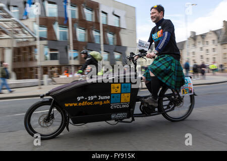 Edinburgh, Scotland, UK. 23rd Apr, 2016. The 5th Pedal on Parliament cycle event has taken place in Edinburgh. Starting - Stock Photo