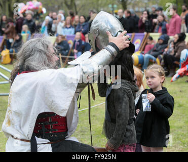 London.UK 23 April .2016, St George's day celebrated in Vauxhall Gardens with entertainment for the whole family - Stock Photo