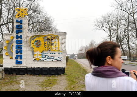 CHERNOBYL, UKRAINE. Pictured in this file image is the entrance to the city of Chernobyl. On April 26, 1986, the - Stock Photo