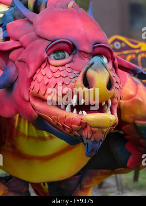 St George's Day on Saturday, 23rd April. Blackburn, Lancashire, UK, Aurelious & Epico the dragon at 'Here Be Dragons' - Stock Photo