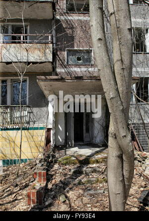 PRIPYAT, UKRAINE. Pictured in this file image is a block of flats in the abandoned town of Pripyat near the Chernobyl - Stock Photo